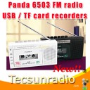 Panda 6503 FM Radio Two Band Radio USB / TF Tape Transcription Tape Recorders Tape Recorder Gift radio