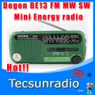 Degen DE13 FM MW SW Hand generator with flashlight solar power Radio
